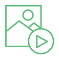 Modthink - Content icon with sample graphic content and video play button