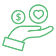 Modthink - Paid Media Icon showing a hand, money, and a heart