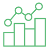 SEO Analytics icon showing bar chart and trend line