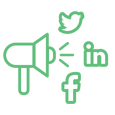 Modthink - Social media icon with a megaphone and social media icons