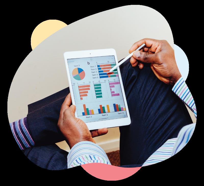 Modthink - Data-Driven Marketing analytics dashboard on an iPad