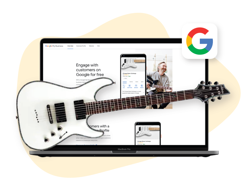 Modthink - Google My Business page with guitar and musician
