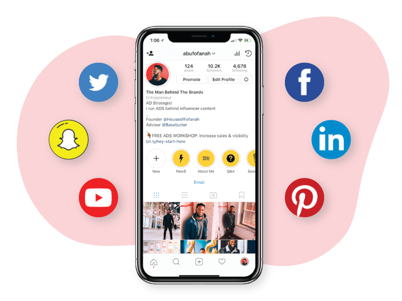 Modthink - Paid social with Phone showing Instagram and other social icons
